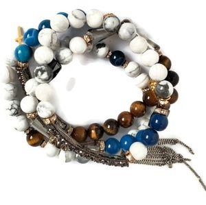 Women's Gemstone Stacking Stretch Bracelet Set X4